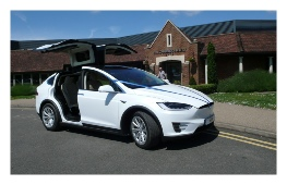 My Tesla Model X Wedding Car outside a Venue in Cambridge